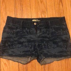 Palm tree denim shorts